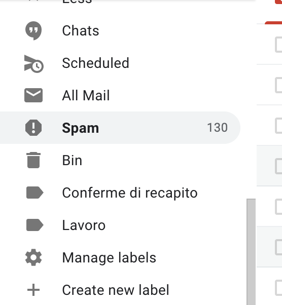 gmail - cartella spam